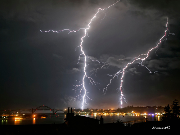 """Lightning Over Yaquina Bay"""